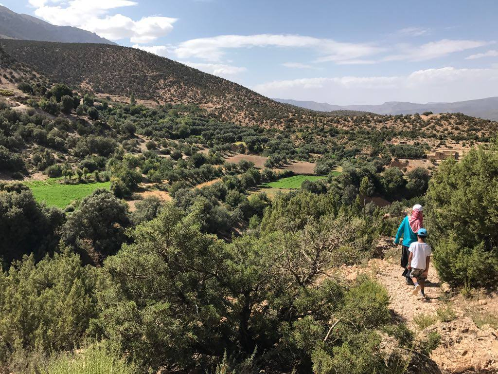 Two persons walk in the mountains from the Rif in Morocco