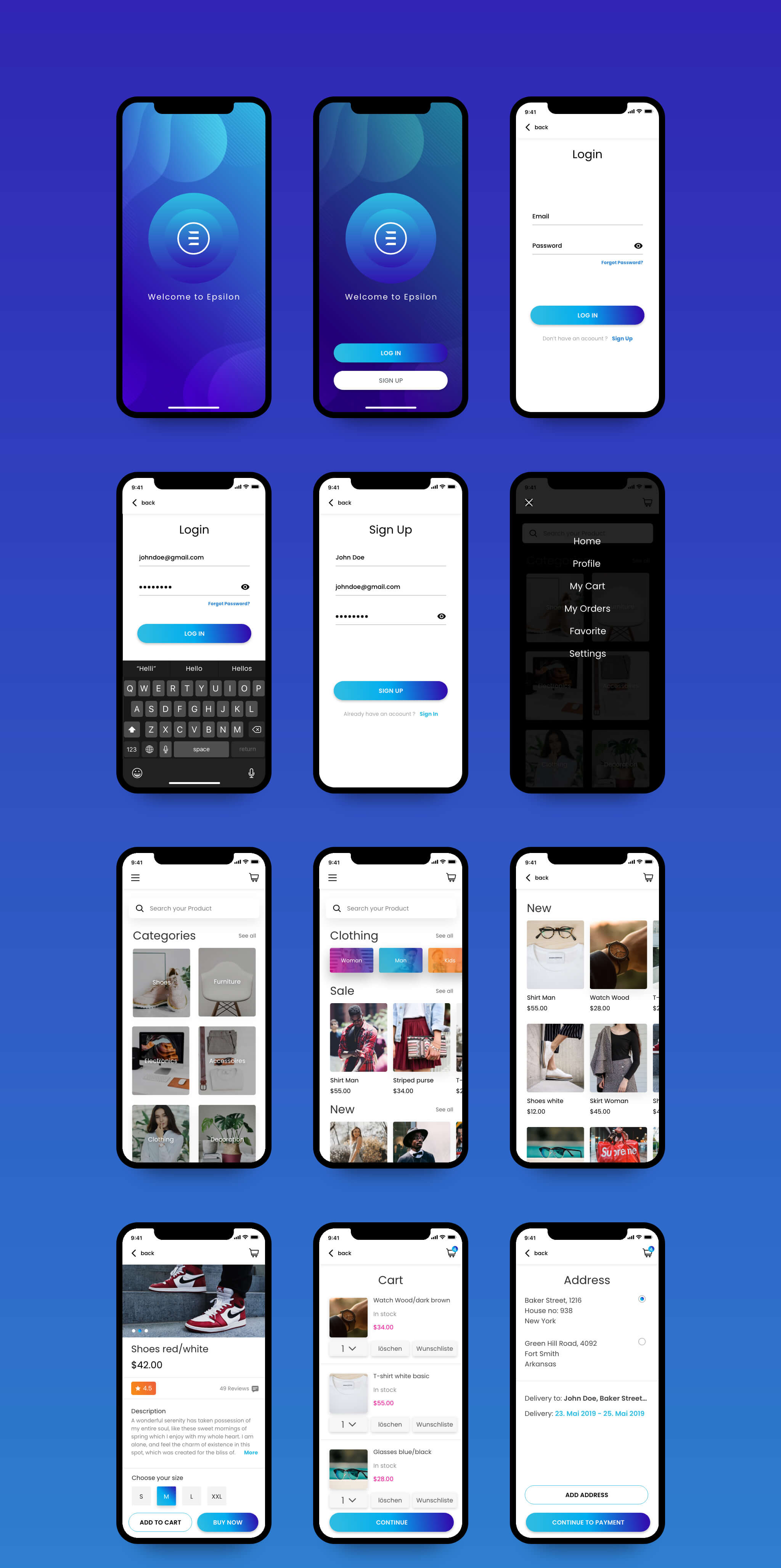 Preview of the App Design Screens