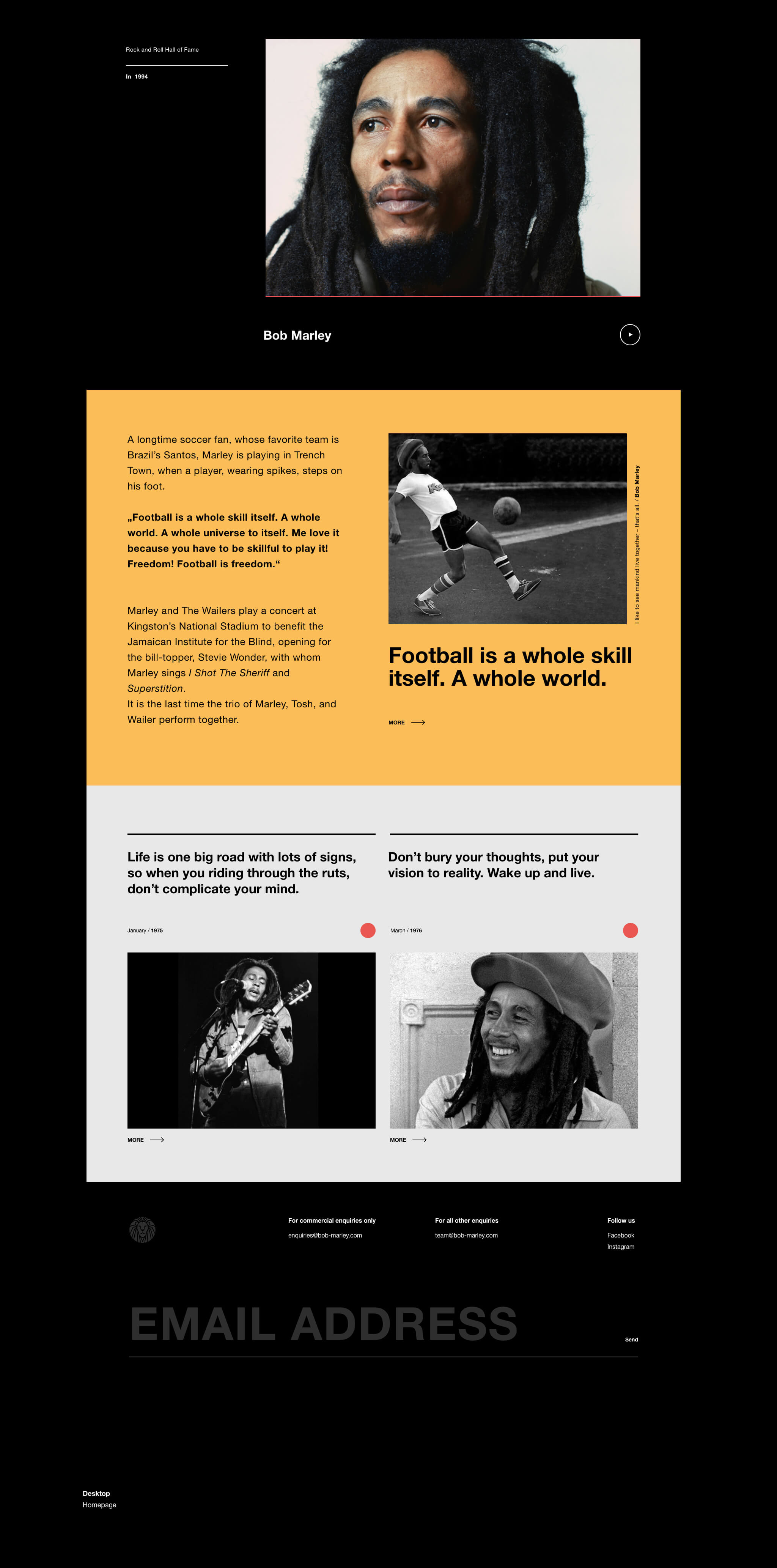 Web Layout About Bob Marley