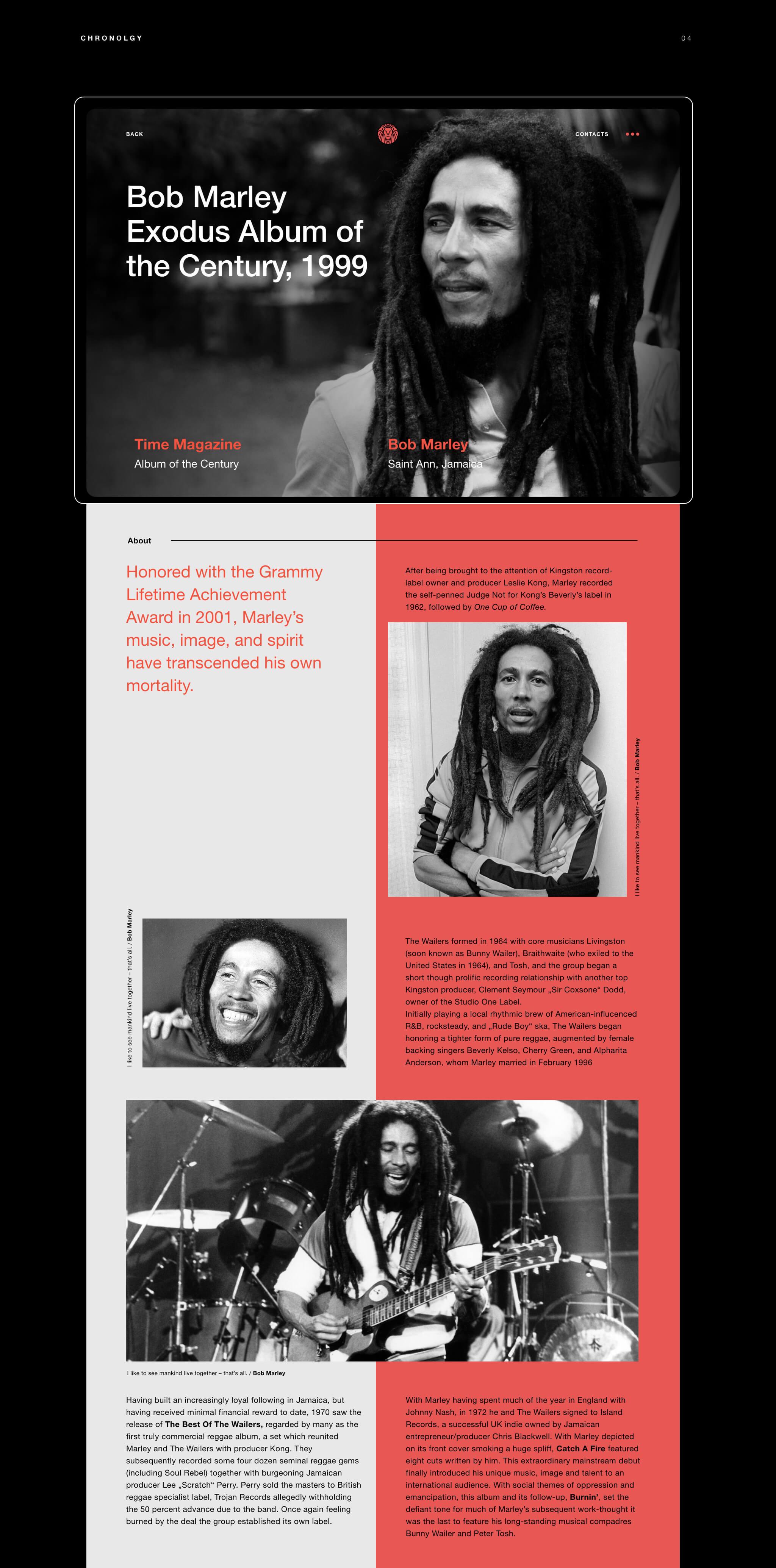 Subpage Webdesign Bob Marley