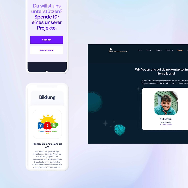 Webdesign screenshot with mobile design