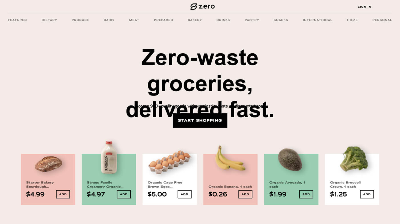 Website Screenshot Zero Waste