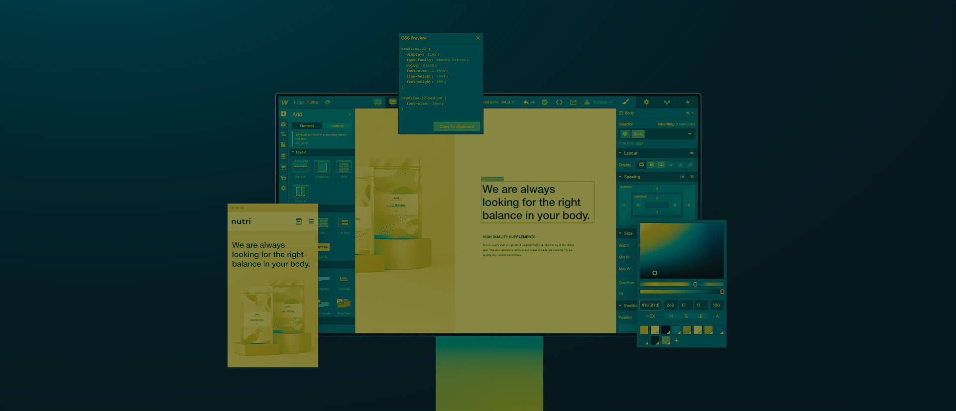 Webflow Desktop Interface