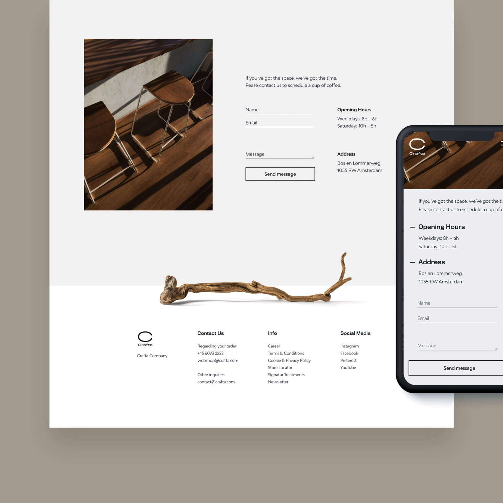 Website Design with a smartphone in front
