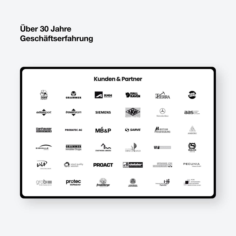 Screenshot of client logos