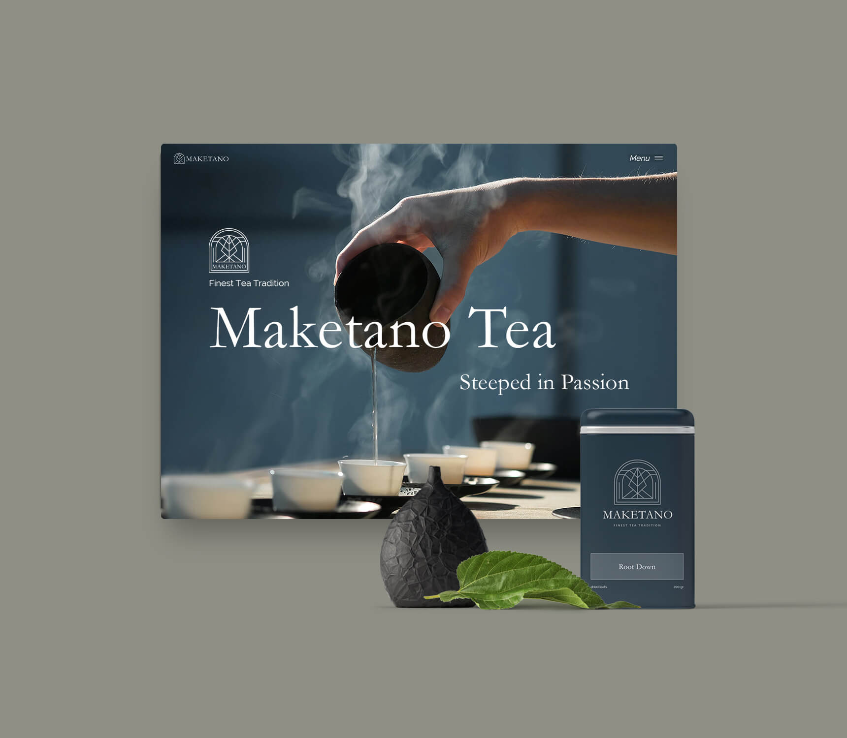 Website Design with tea can in front