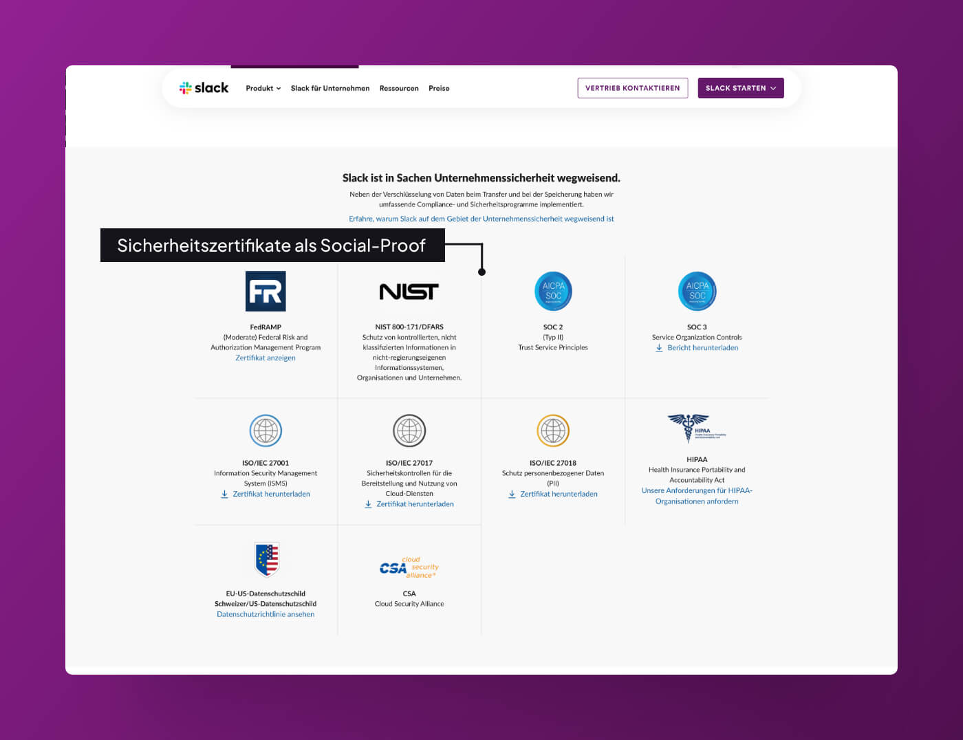 Website Screenshot of Slack.com which shows security certificates.