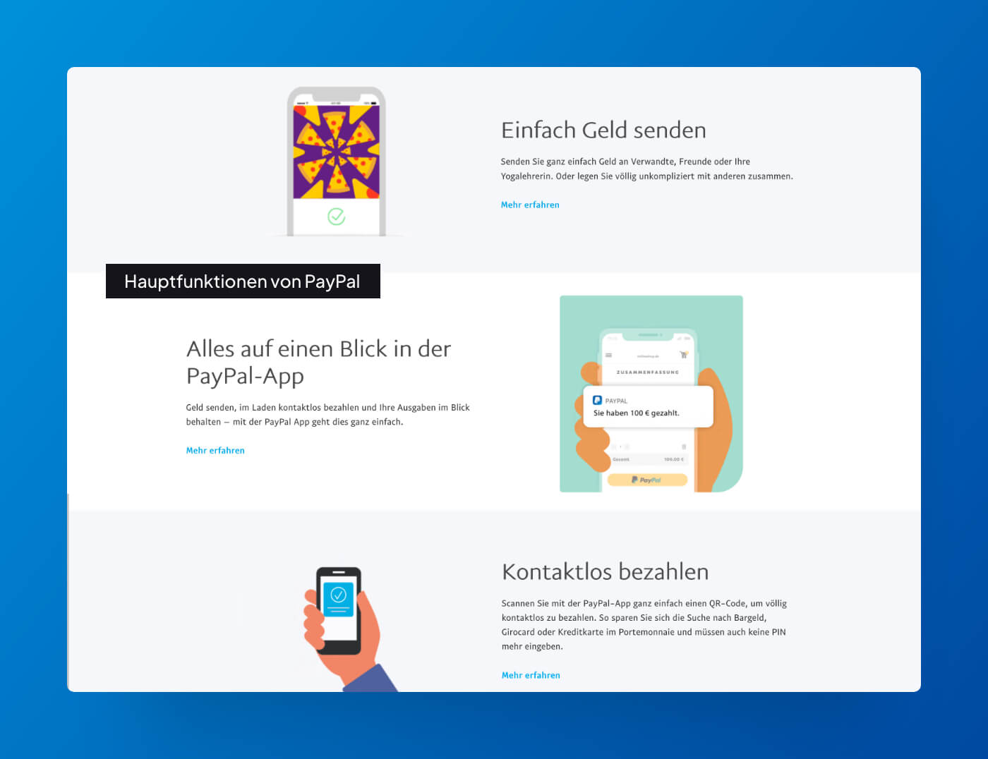 Website Screenshot of paypal.com which shows the main product features.