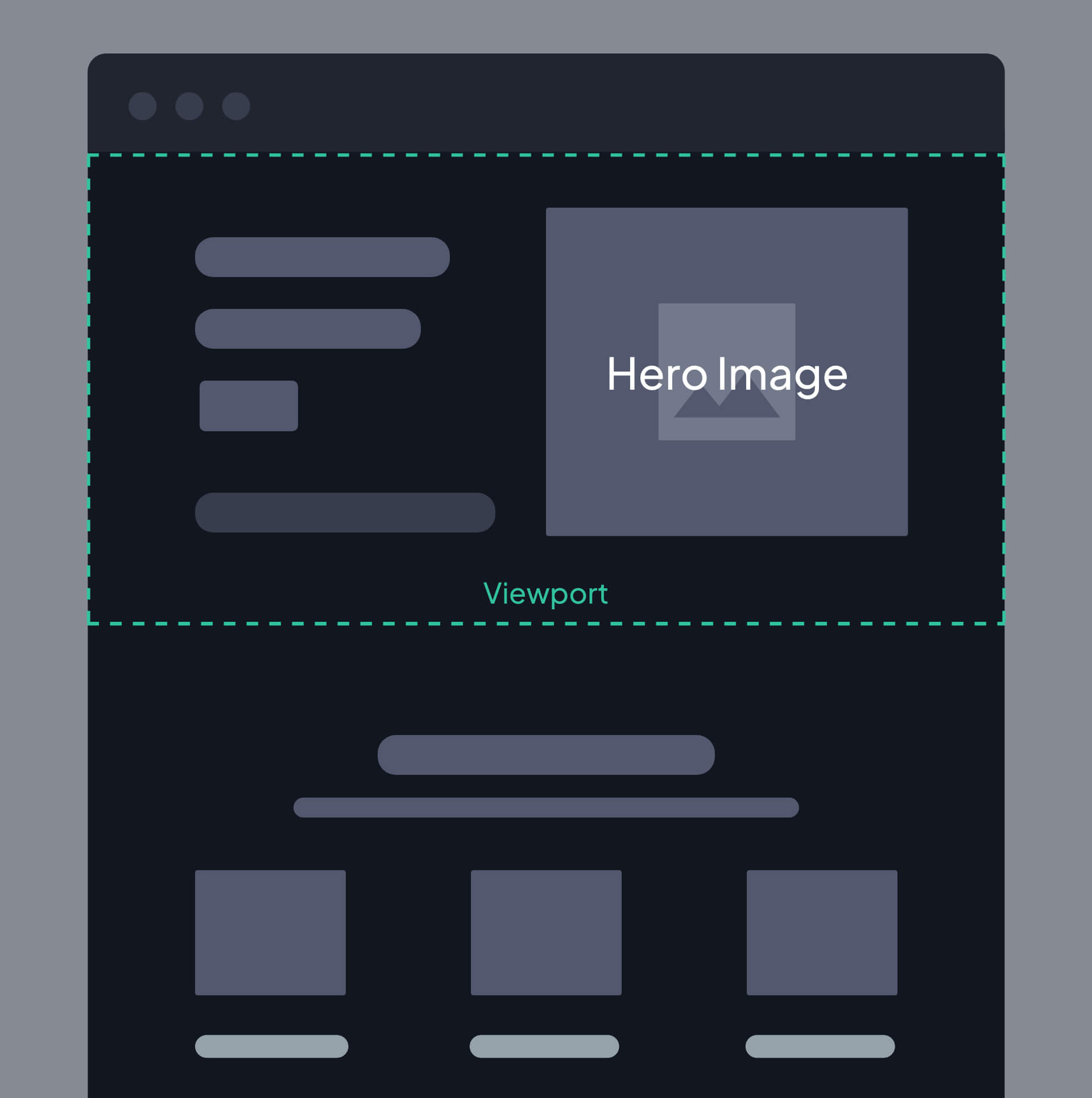 Wireframe of a Website with a hero image.
