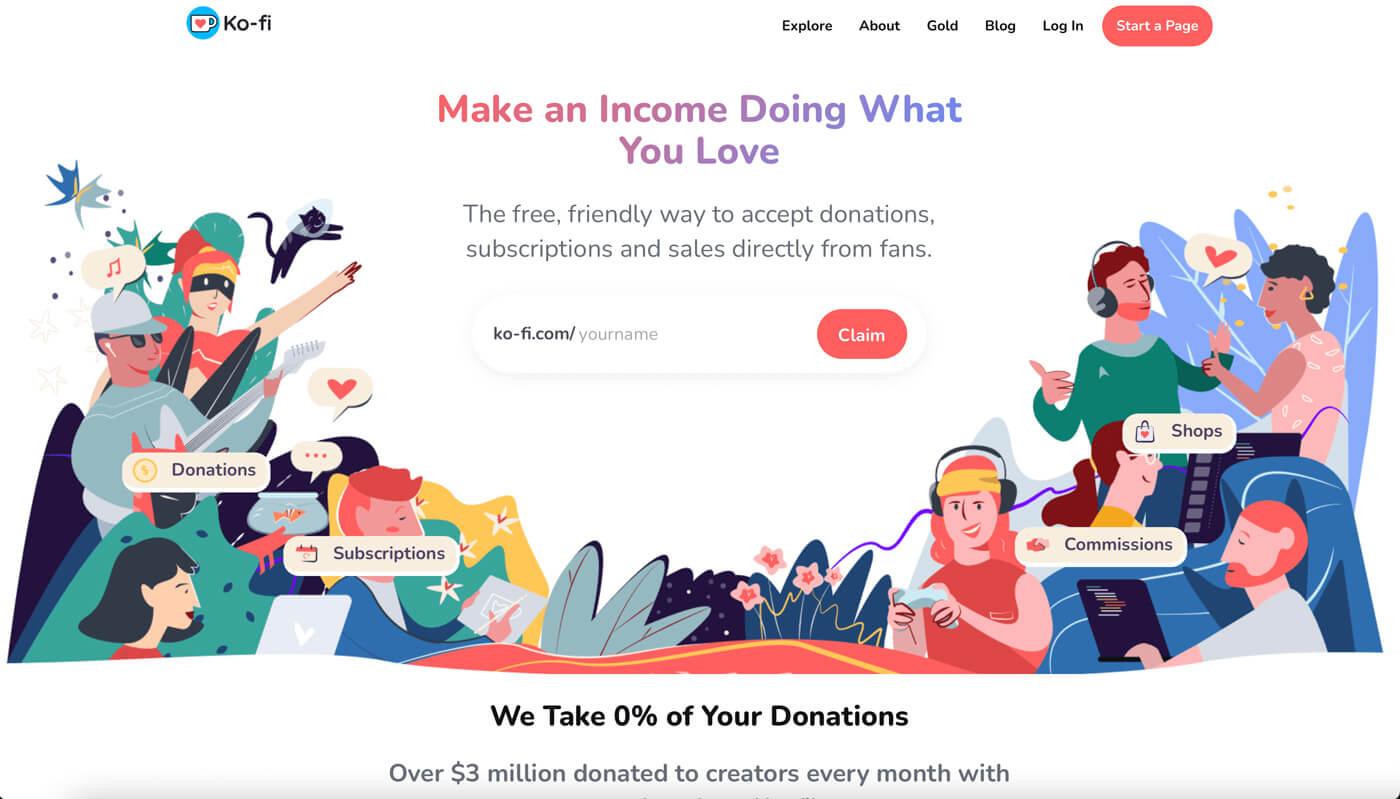 Website Screenshot of ko-fi.com