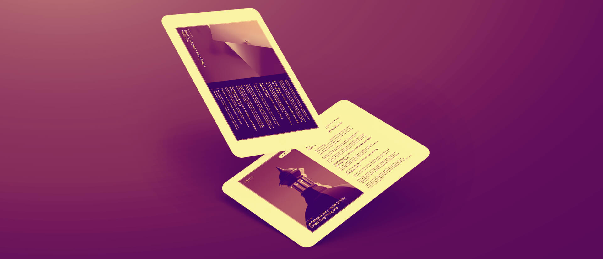 Two floating tablets with website screenshots of a blog website.