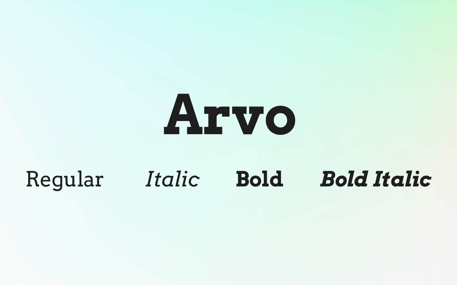 Font Preview Arvo