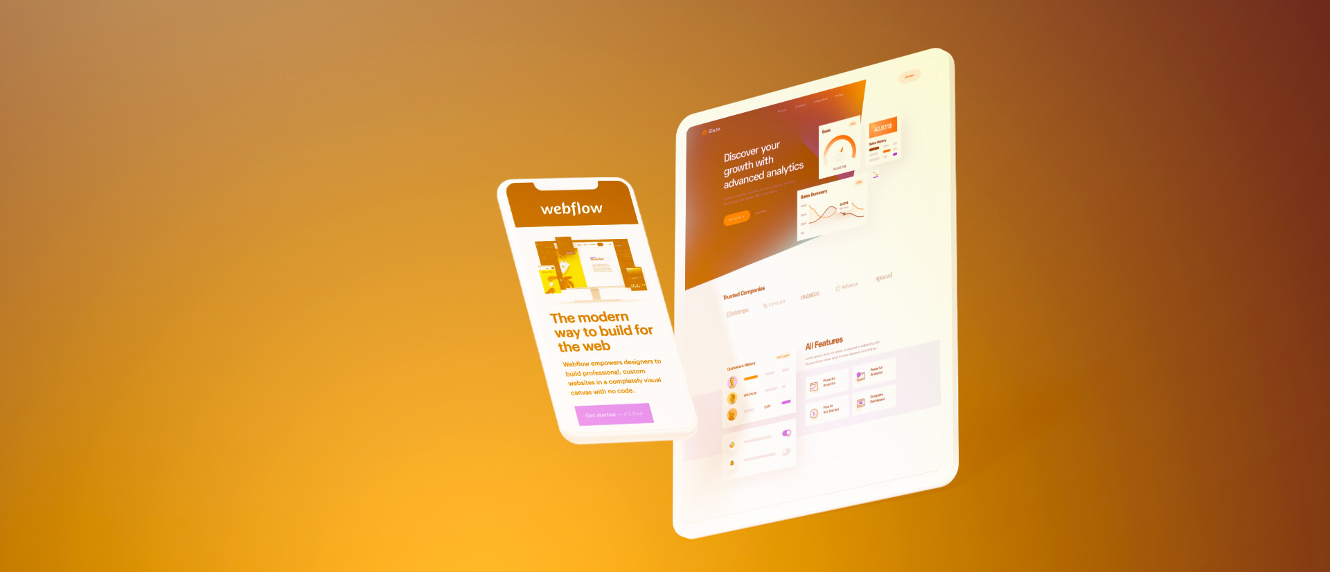 White floating smartphone and tablet on a orange background.