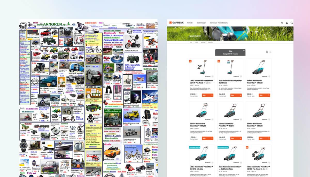 Design Vergleich von 2 E-Commerce Websiten