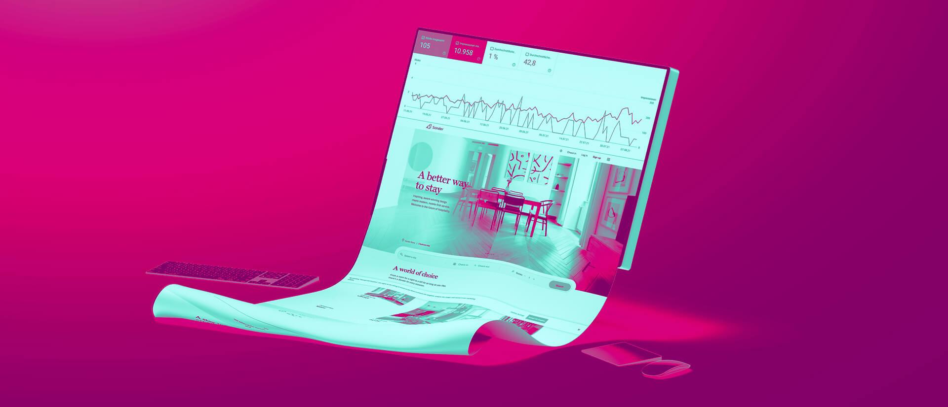 Desktop Bildschirm mit Screenshot einer Statistik.