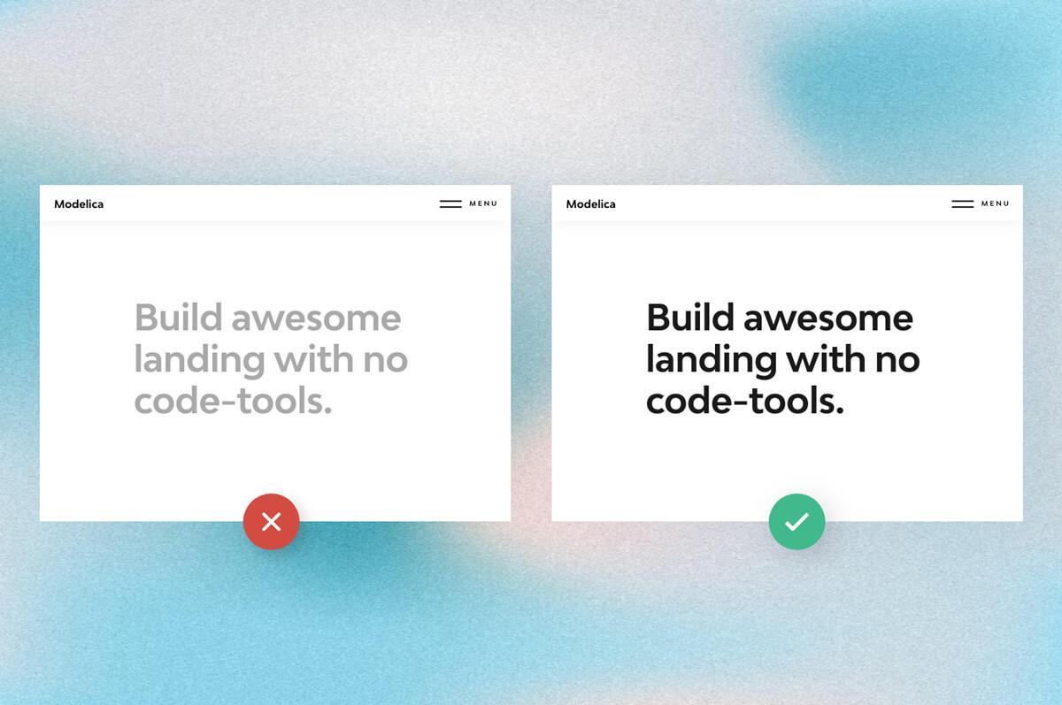 Contrast comparison of 2 fonts.