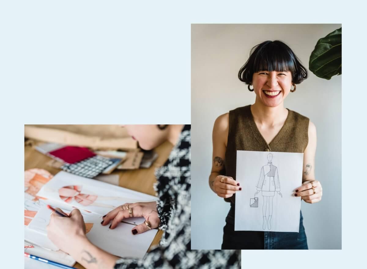 Eine junge Frau designed Entwürfe für Kleidung auf Papier mit Stiften.