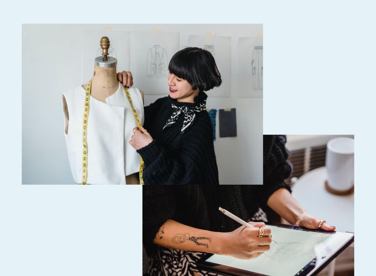 Eine junge Frau designed Entwürfe für Kleidung.