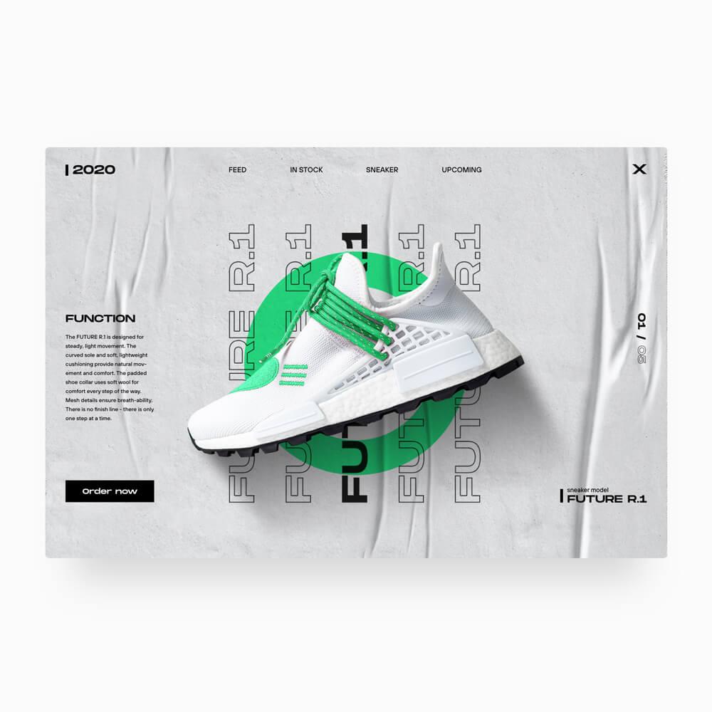 Modernes Website Design mit weißen Sneaker.