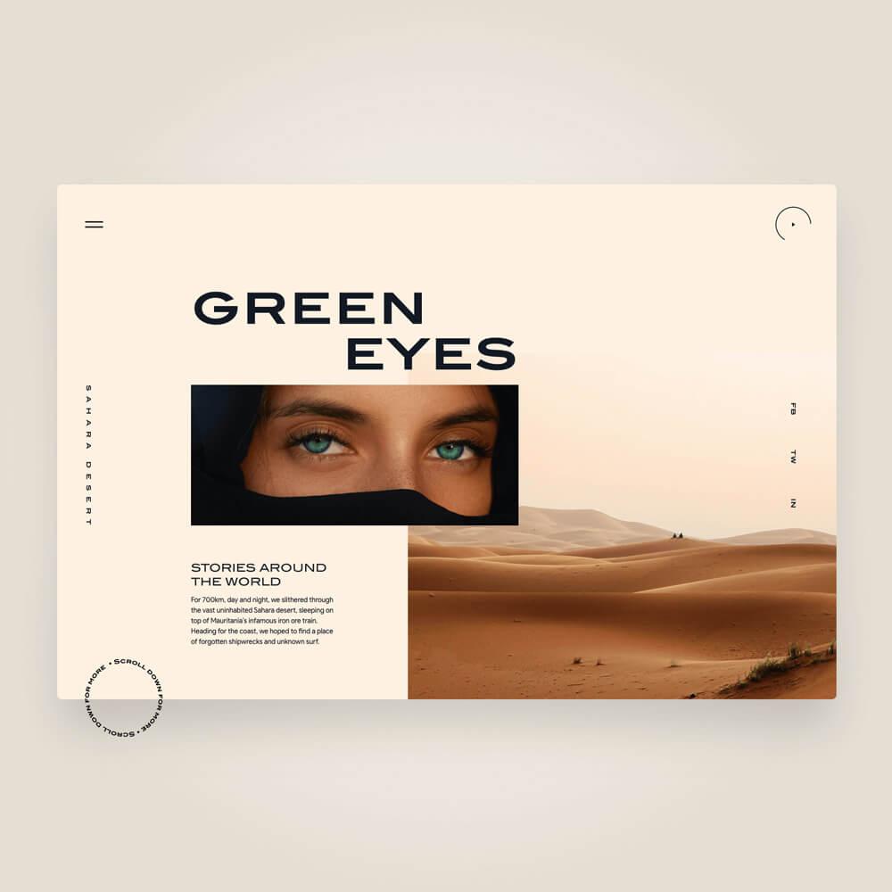 Augen einer Frau und Bild von einer Wüste.