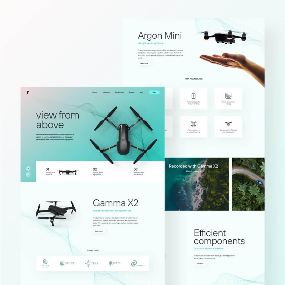 Website Design von einer Drone mit verschiedenen Ansichten.