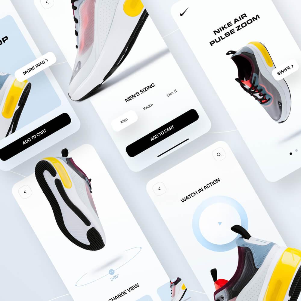 Modernes App Design von Sneakern.