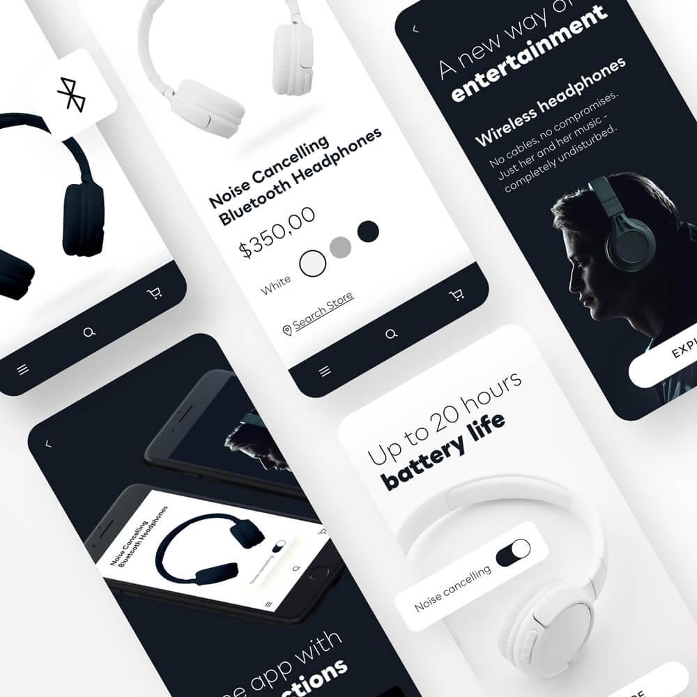 Helle und Dunkle Mobile Designs von Kopfhörern.