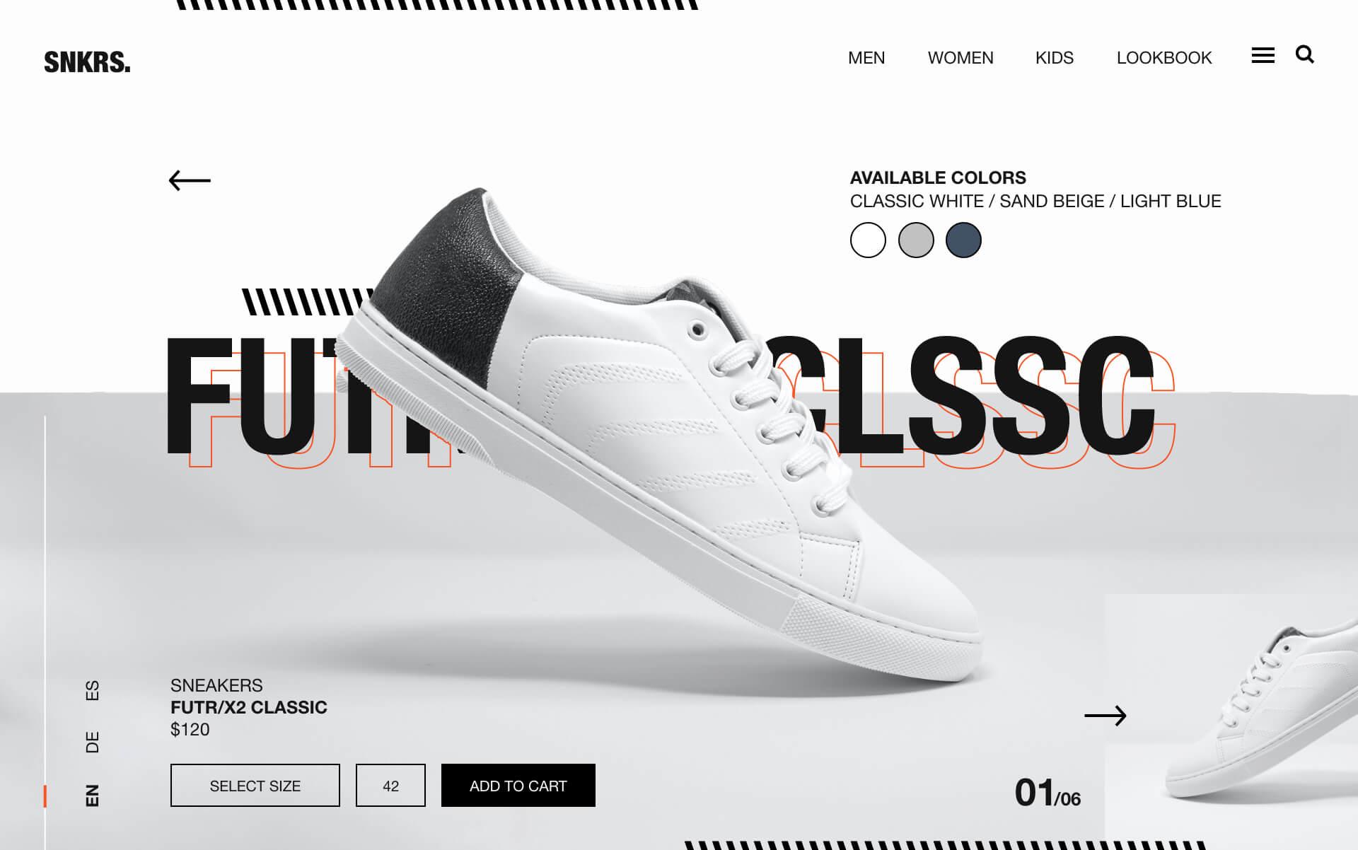 Website Design mit weißen Sneaker über dem Boden schwebend.