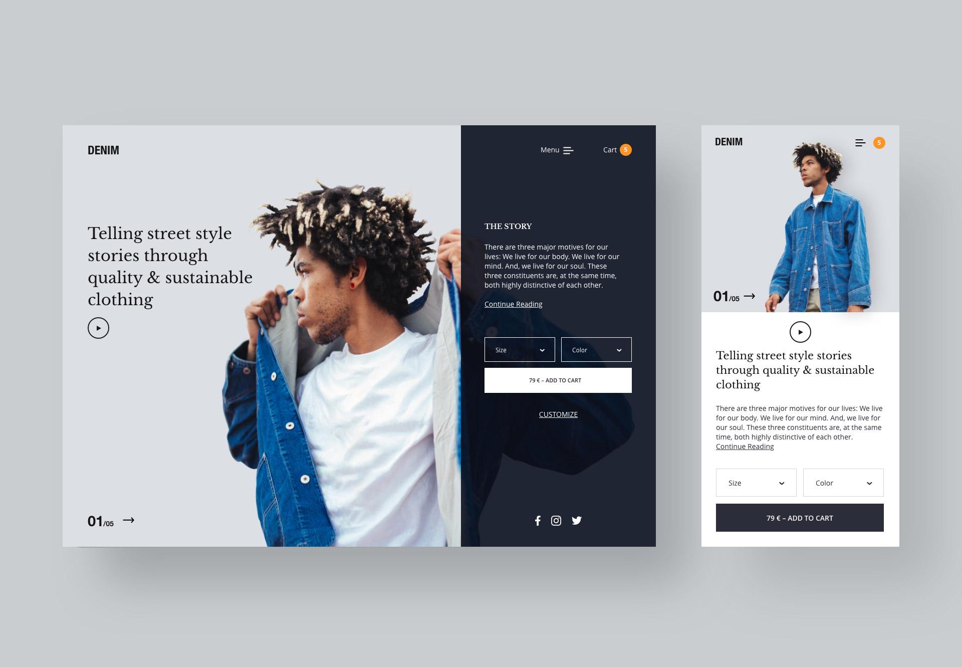 Desktop und Mobile Design mit einem jungen Mann der eine Denim Jacke trägt.