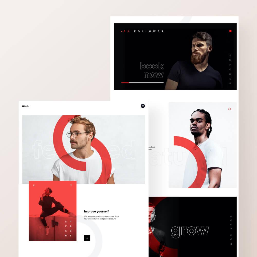 Website Design mit verschiedenen, modernen Portrait Bildern.