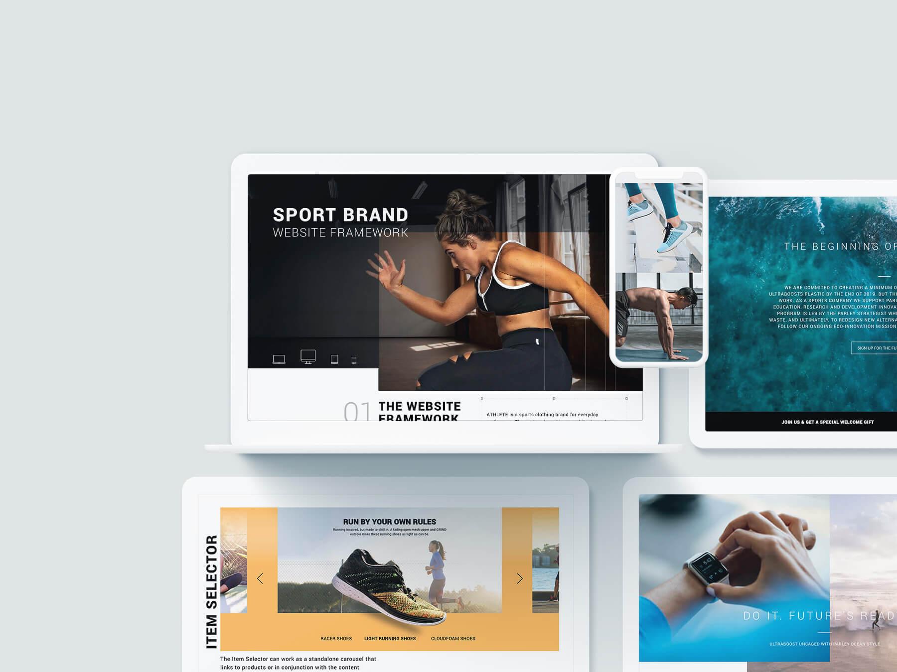 Ansichten von verschiedenen Desktop Designs mit Sportlern.