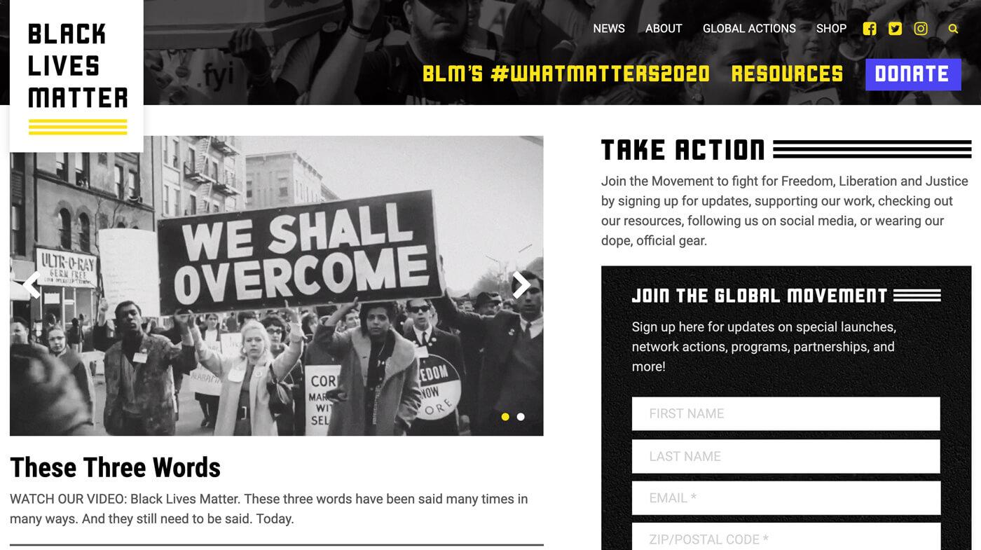 Website Screenshot Black Lives Matter