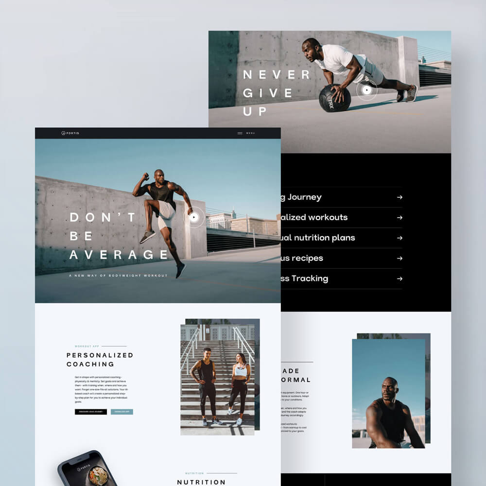 Workout App Landingpage Design