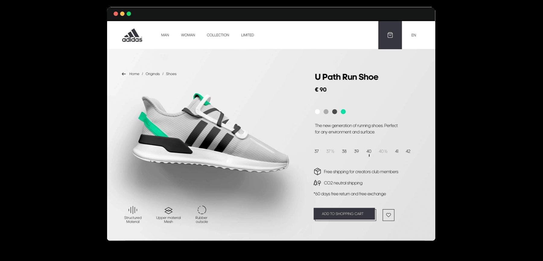 Webdesign of a Sneaker Landingpage