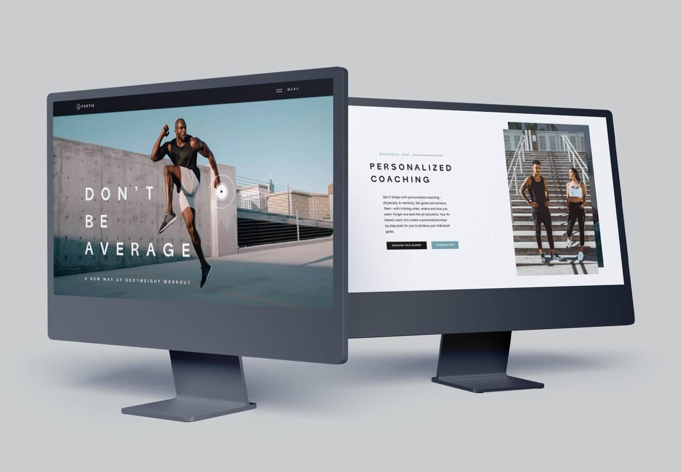 Zwei Bildschirme zeigen eine moderne Fitness Website.