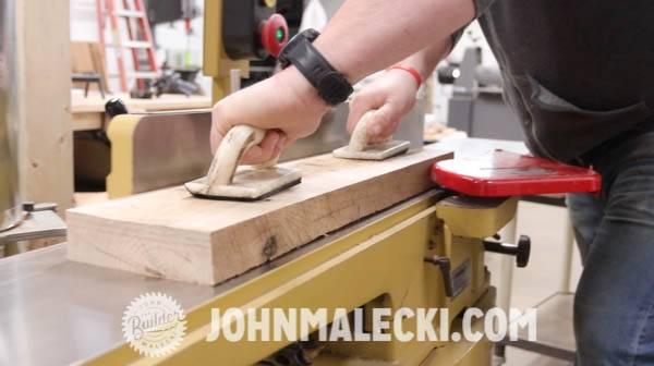 John malecki squares the door rails on his DIY door panels