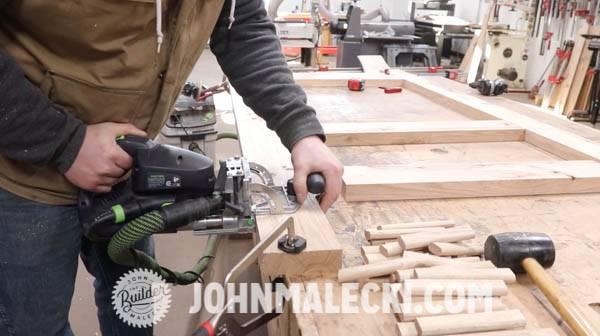 John malecki cuts domino joinery on his DIY door panels