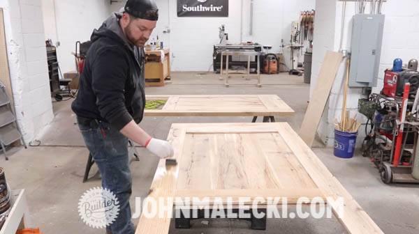 John malecki stains his DIY Panel doors