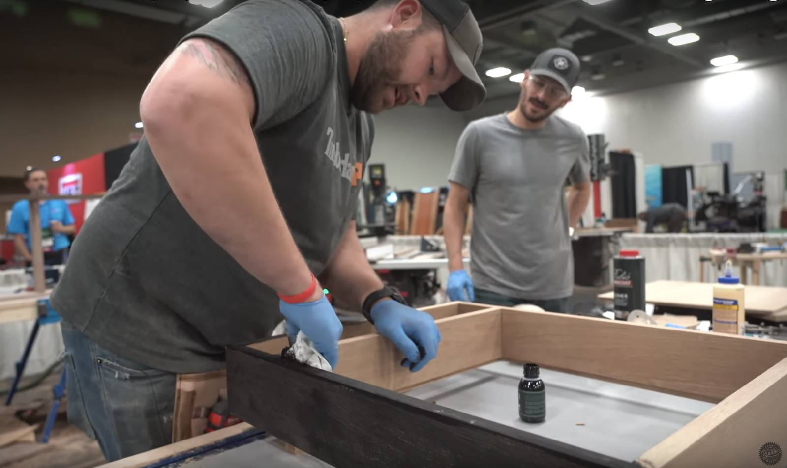 John malecki stains his DIY dartboard cabinet black