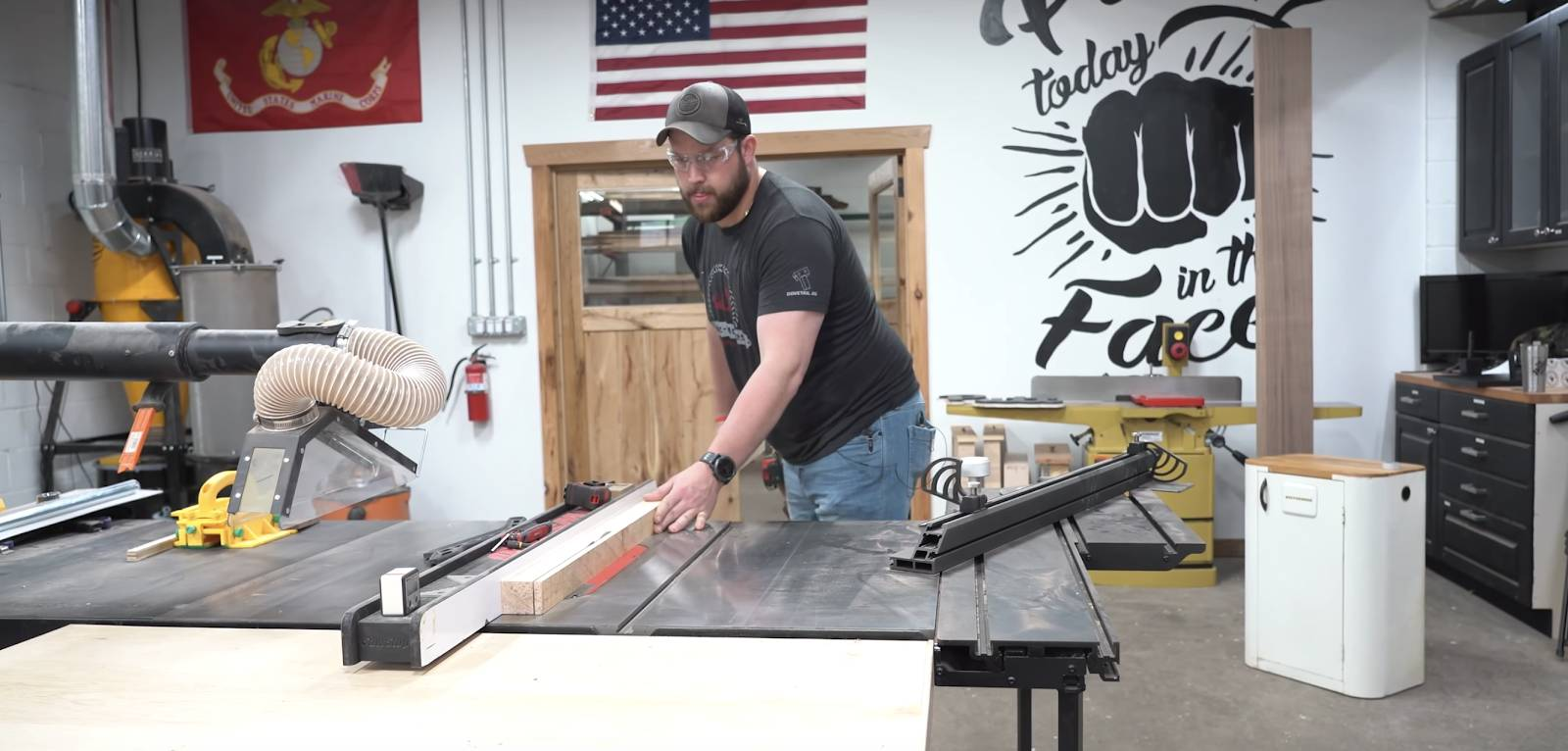 John Malecki cuts lumber for a DIY pizza peel