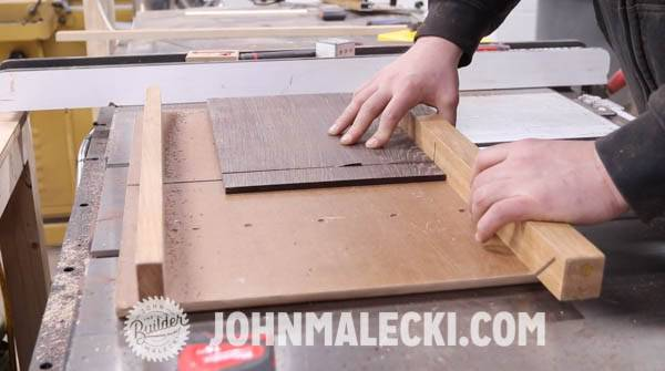 John Malecki rough cuts the shelf and drawer fronts