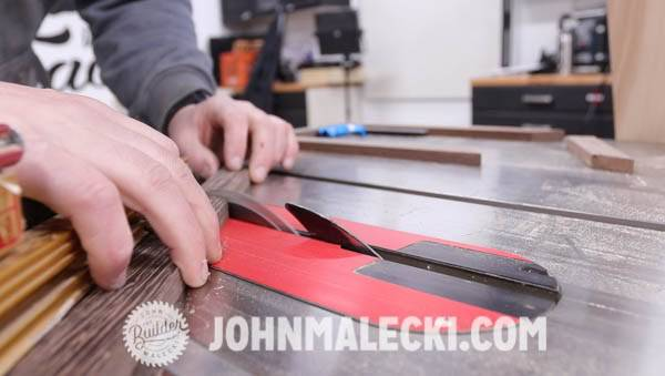 John Malecki cuts stock for the jewelry box lid