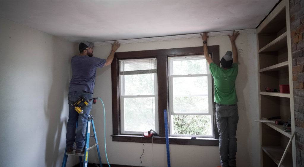 Guest Bedroom Remodel Installing Trim