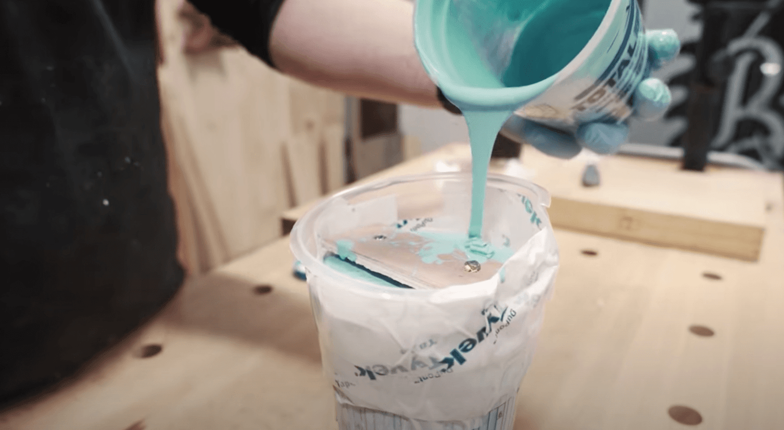 pouring rubber for a mold