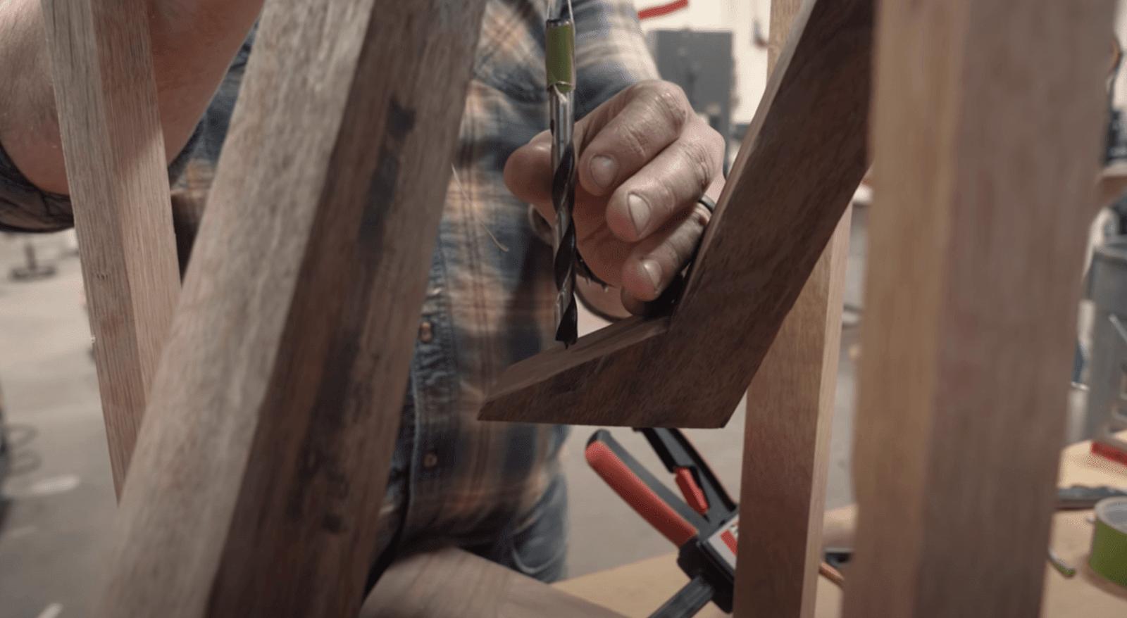 John Malecki digging wood
