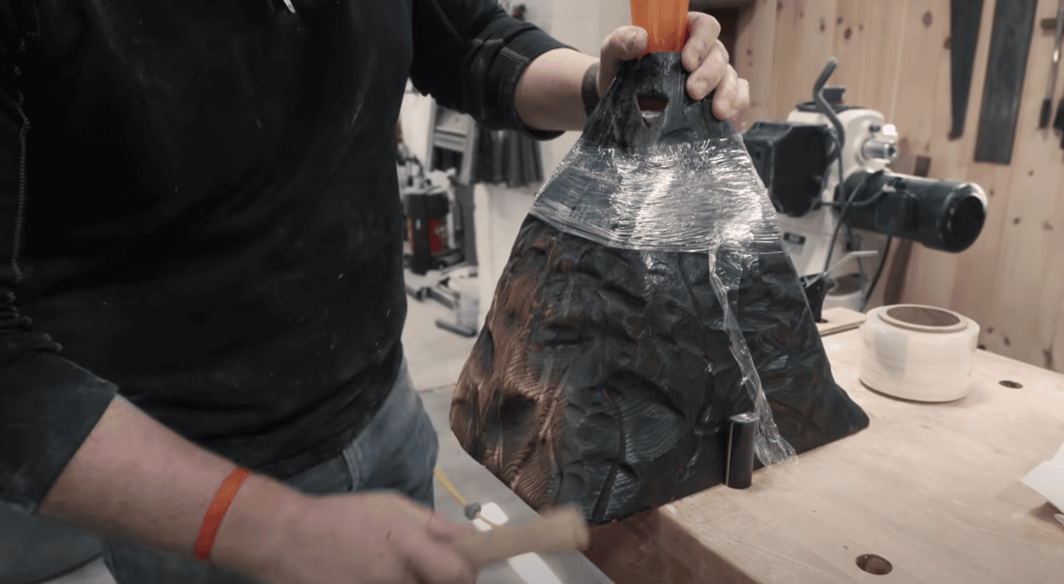 wooden volcano table base