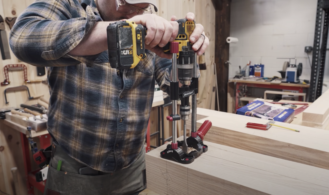 person using woodworking tools