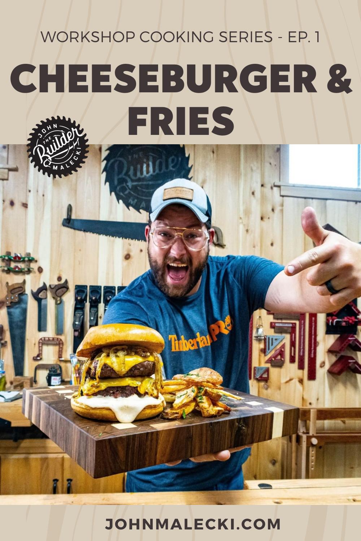 john malecki holds a cheeseburger and fries