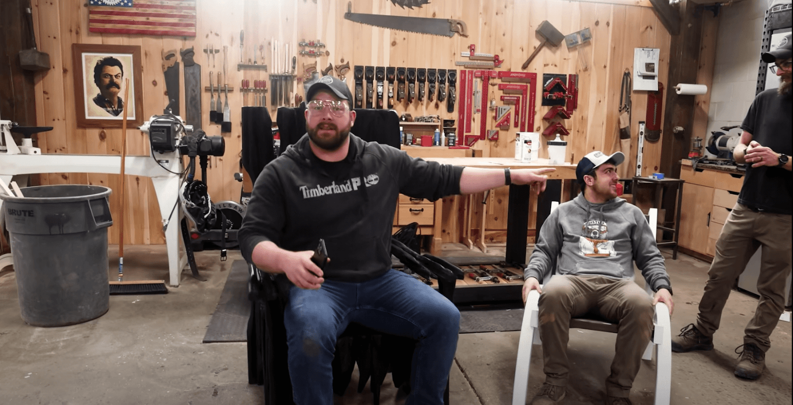 John and the boys testing the chairs
