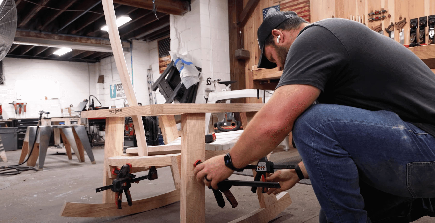 John Malecki building a chair